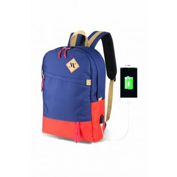 My Valice Smart Bag Freedom Usb Charging Port Smart Backpack Navy-Red