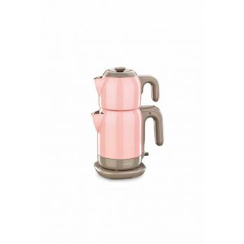 A369-02 Korkmaz Demtez Pink / Gray Electric Tea Pot