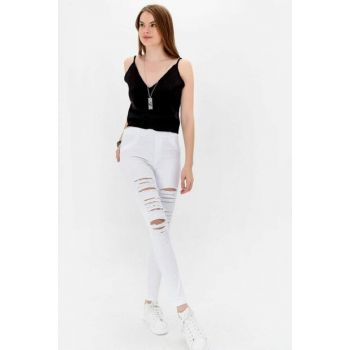 Women's White Washed Front Ripped Jean Lnd-0344 LND-0344