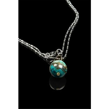 Chrysocolla Stone Necklace 601 COLOR
