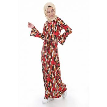 Women Multi Colored Patterned Hijab Dress 1525BGD19_029
