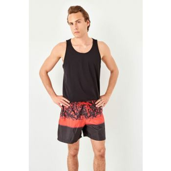 Red Men's Graphic Patterned Sea Short TMNSS19FO0075