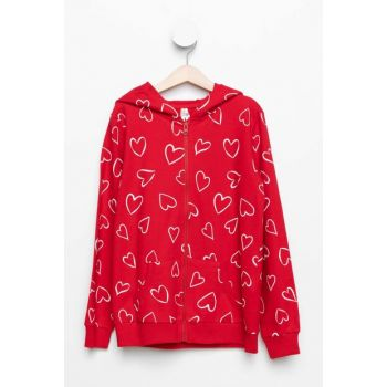 Red Young Girl Hooded Heart Pattern Cardigan K4575A6.19SP.RD70