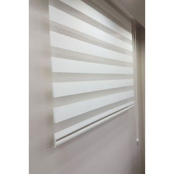 190 x 200 Roller Blind Zebra Curtain White MZ507 8605480565242