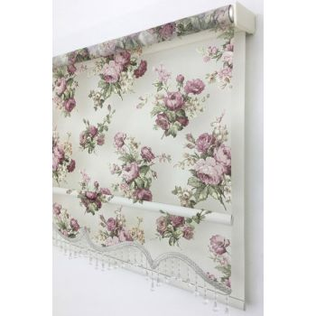 Double Mechanism 200X200 Nihan Tulle Skirted Beaded Tulle Roller Blinds 200X200-EV-BV-SAG-001GLL-04