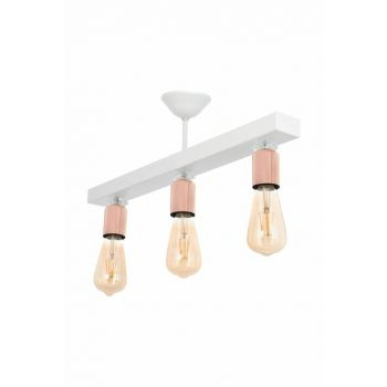 Rustic White Copper Row 3 Pieces Chandelier with Pearl Stone 0510