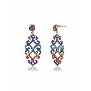 Colorful Cubic Zirconia Shaped Earrings COS-CZE0119R