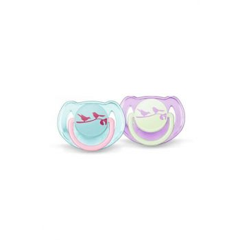 0% BPA False Pacifier with 6-18 Months Pattern - Pink