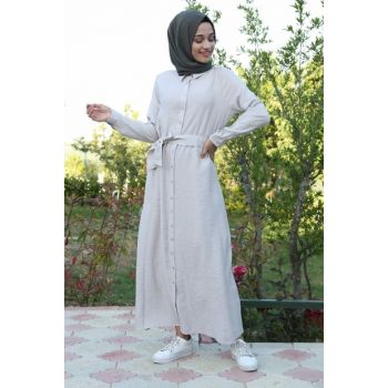 Women Beige Waist Girdle Length Button Hijab Dress 10225BGD19_016