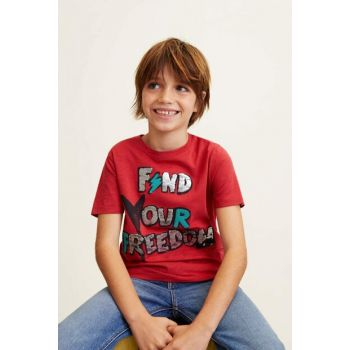 Red Boy T-shirt with reverse sequins 43020693