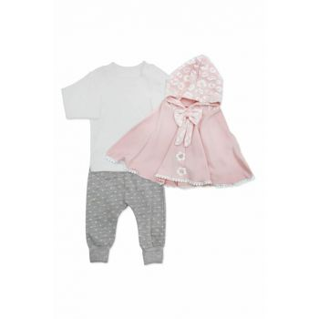 Hooded Pink Cloak Bow with 3 Piece Baby Set K2790