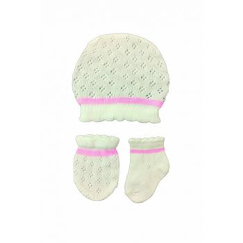 White / Pink Baby Girl Knitwear Gloves Hat Suit 5945A