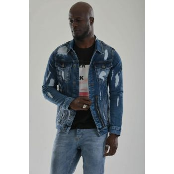 Men's Ripped Denim Jacket Slim Fit g24nm4lje