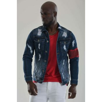 Men's Ripped Denim Jacket Slim Fit jf5637gm8