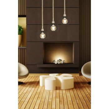 Rope Pendant Lamp With Round Cage ASZ.0545