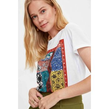Women's Ecru Ethnic Printed Short Sleeve T-shirt L8146AZ.19SM.ER15