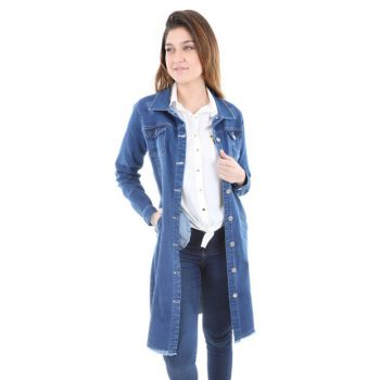 Women's Blue Long Denim Jacket 0614BGD19_008