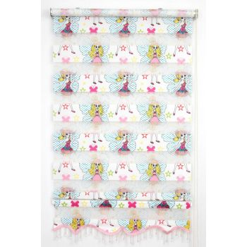 200X200 Tengo Zebra Curtain Fairy Daughter Pink Kids Room Skirted Beaded Roller Blinds 200X200-EV-BV-SAG-001PRK-01