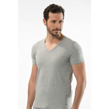 Men's Gray Melange V-Neck Short Sleeve T 1306