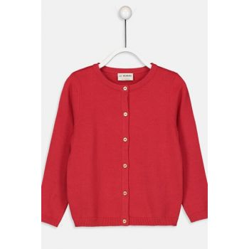Girl's Red Cardigan