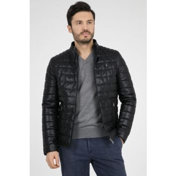 Men's Navy Blue Faux Leather Jacket - G081Sz035P01 P8186