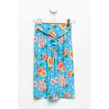 Turquoise Girl Flower Culotte Trousers K5068A6.19SM.TR231