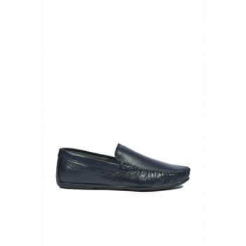 Genuine Leather Navy Blue Men Casual Shoes 2010044081