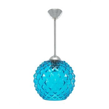 Sinem Chandelier New Series Embossed Glass Round Blue Single Chandelier 10698