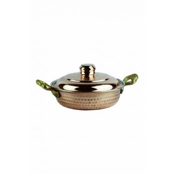 Deep Frying Pan with Brass Handle and Copper Cover 5383-2892
