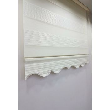 190 x 200 Pleated Roller Blind Zebra Curtain Ecru MZ481 8605480599354