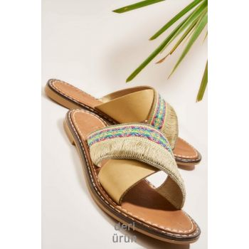 Genuine Leather Beige Women Slippers H0602808203
