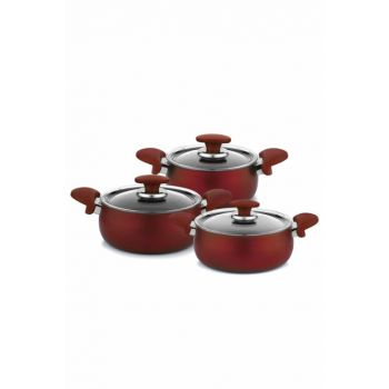 Schafer Milena Plus 6 Piece Granite Cookware Set - Red 12383