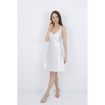 Women's Ecru Satin Dressing Gown Nightgown Set MSD-1204