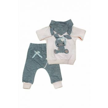 Powder Pink Scarf Rabbit 3 Piece Baby Set K2762