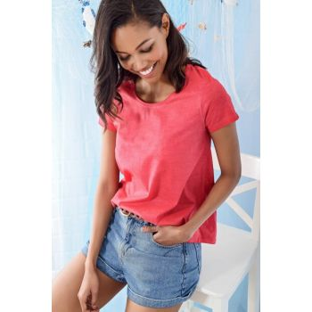 Women's Pomegranate Flower Wash Printer T-Shirt ALC-A1030