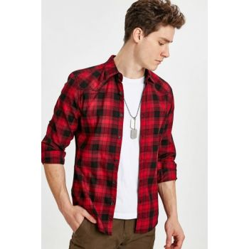 Men's Red Plaid Shirt 9SG155Z8