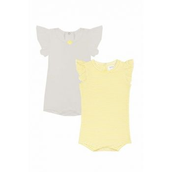 Organic Baby Girl White + Yellow White Striped 2-Pack Frilly Body T_YELLOWSTRIPE_BD_10273