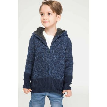 Navy Blue Boy Child Color Blocked Hair Braided Cardigan I9211A6.18AU.NV154