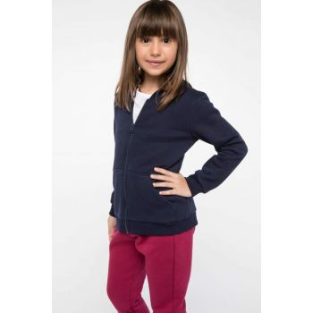 Navy Blue Young Girl Hooded Sweatshirt J0212A6.18AU.BE458