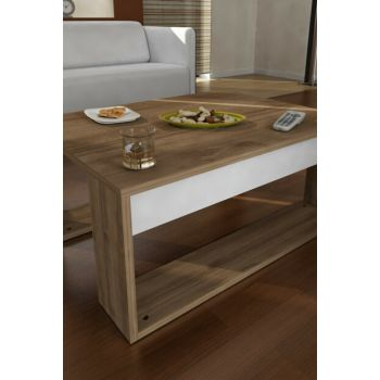 Gorder Coffee Table White - Walnut 8681506222640