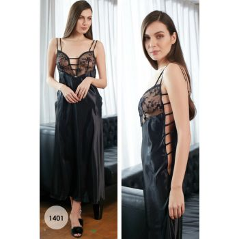 Women's Black Satin Nightgown MSD-1401