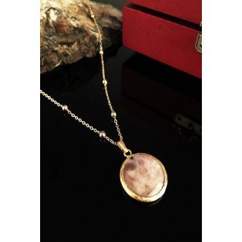Women Mother of Pearl Stone Gold Plated Necklace Xkrb52 XKRB52