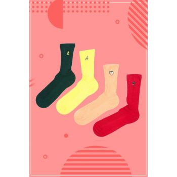 Unisex Red Embroidered Socks Set 8690342019920