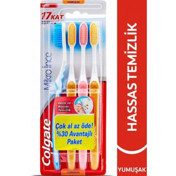 Micro Thin Compact Toothbrush Soft 4 Pcs 8693495053716
