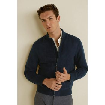 Men's Navy Blue Faux Suede Bomber Jacket 53060502