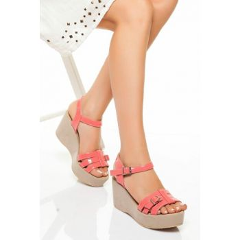 Coral Patent Leather Women's Wedge Heels LDS0145