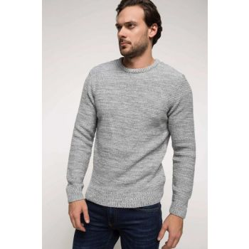 Men's Textured Basic Knitwear Pullover G0308AZ.18WN.GR210 G0308AZ.18WN.GR210
