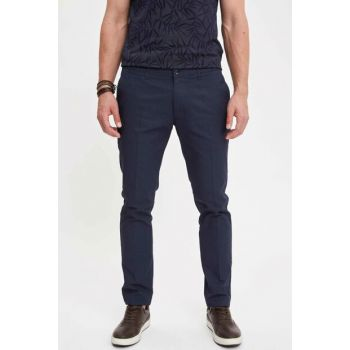 Men's Navy Blue Tailored Fit Chino Trousers K3247AZ.19SM.NV64