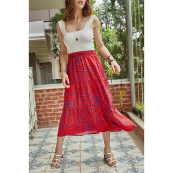 Women's Red Patterned Skirt 9YXK7-41363-04