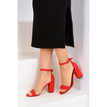 Red Suede Women Heels Shoes A6300-19